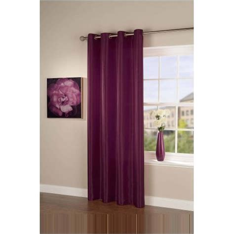faux silk eyelet curtain panel in mulberry