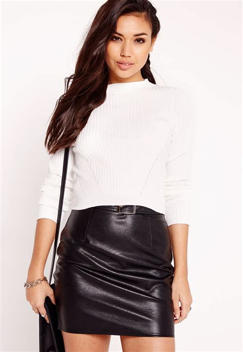 cropped sweater missguided basic rib cropped sweater in white lyst