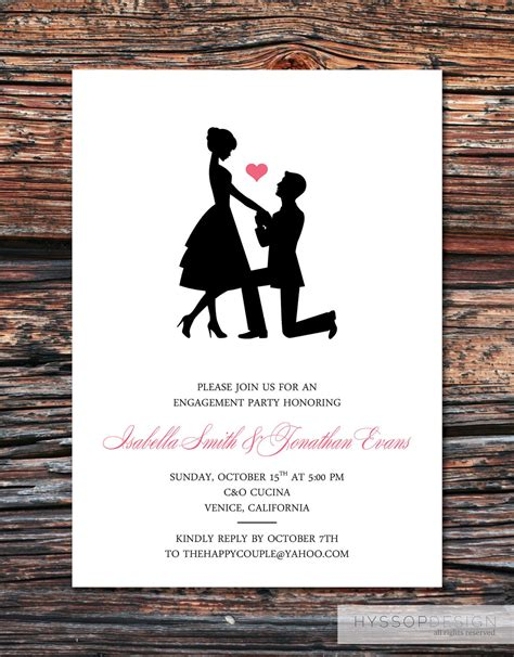 printable invitations engagement printable diy sweet silhouette proposal by hyssopdesign on