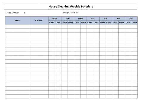 household roster template house cleaning schedule template word excel