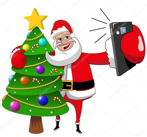 santa claus hugging decorated xmas tree and taking selfie