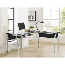 l shaped computer desk black glass top l shaped computer desk in black 9105396com