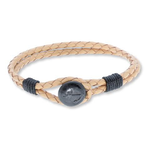 s anchor bracelet leather stainless steel