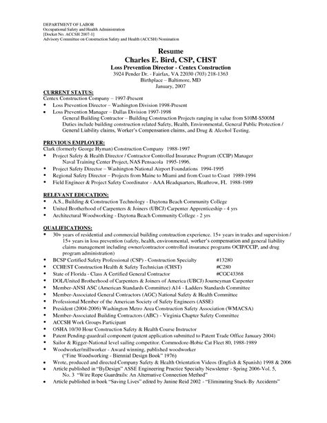 Construction Worker Resume by Professional Construction Worker Resume Sle Recentresumes