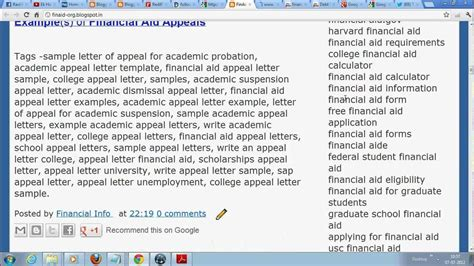 Scholarship Probation Letter College Financial Aid Appeal Letter Sle
