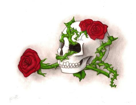 skull roses and thorn vines by bitterdarkangel on deviantart