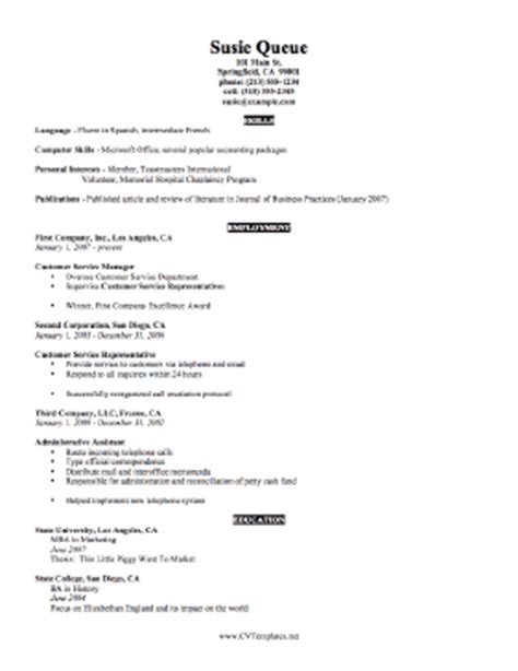 Suzy Q Resume by Concise Cv Template