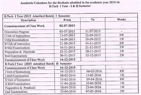 Jntuk Mba 3rd Sem Results 2016 by Jntuk B Tech 1 1 1 2 Sem Academic Calendar S 2015 16