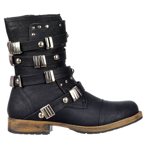 womens biker style boots dolcis military style ankle biker boot studded