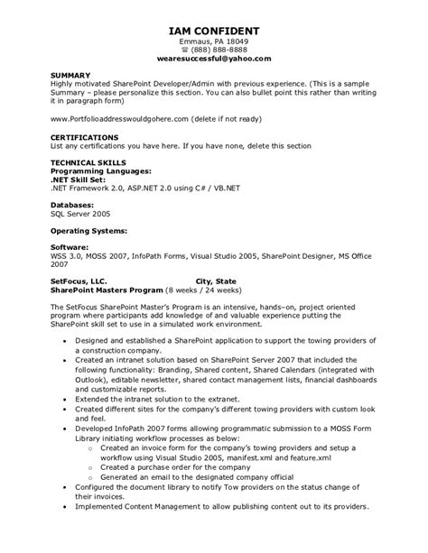 sharepoint developer resume exles 28 images