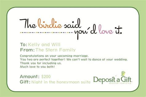 Honeymoon Gift Cards - honeymoon gift lists deposit a gift
