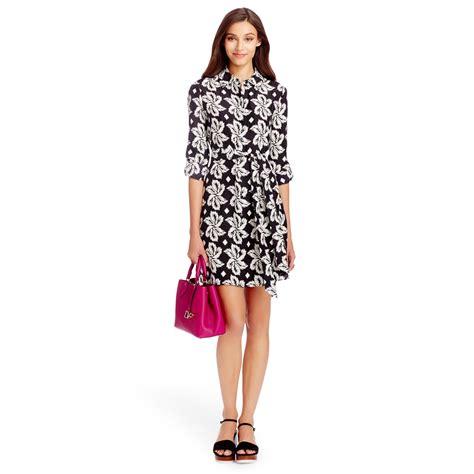 Outlet Alert Diane Furstenberg Graphic Patterned Dress by Diane Furstenberg Prita Silk Shirt Dress In Floral