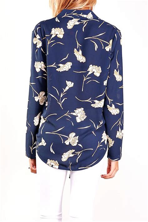 43073 Blue Flower Blouse oc avenue navy floral blouse from orange county shoptiques