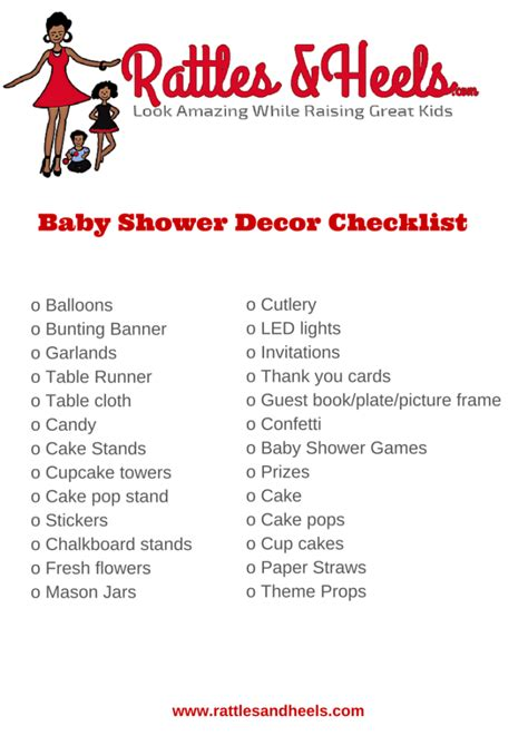 List For A Baby Shower by Fabulous Baby Shower Decorations Checklist Printable