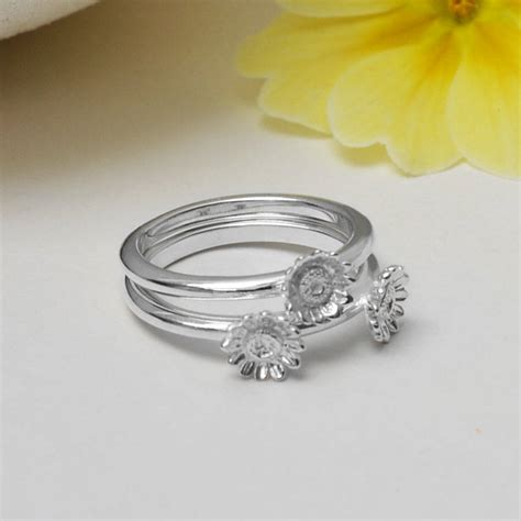 sterling silver flower stacking ring by martha jackson