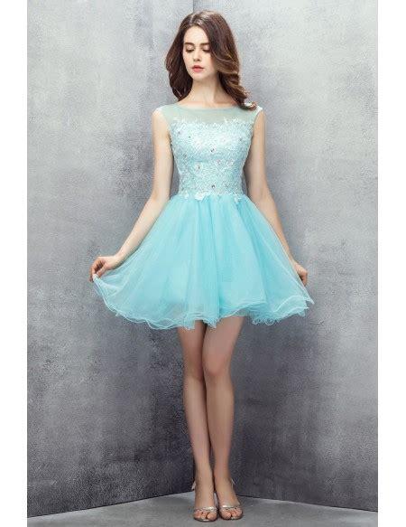 cute sky blue tulle short prom dress yh