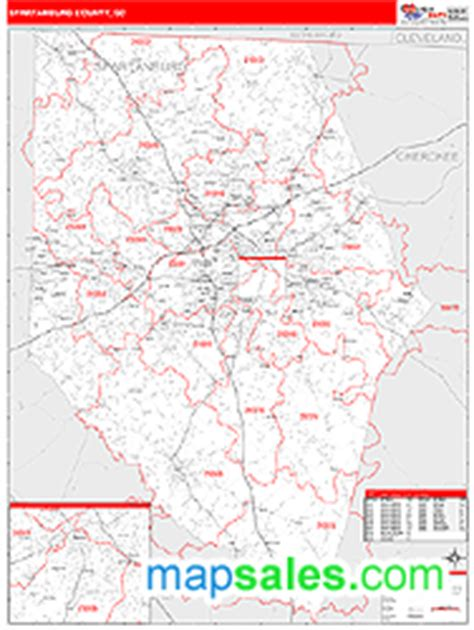 zip code map upstate sc spartanburg county sc zip code wall map red line style by