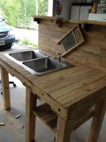 Sink For Outdoor Kitchen - turn a wooden cable spool into an outdoor kitchen or garden sink diy projects for everyone