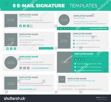 Set 8 Flat Modern Email Signature Stock Vector 594867410 Shutterstock Modern Email Signature Templates