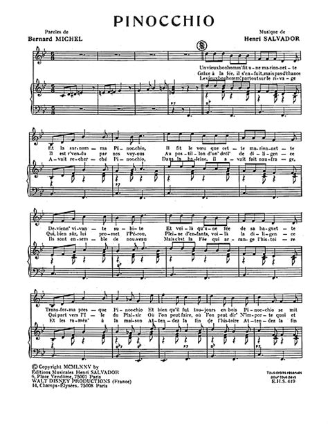 carissimo pinocchio testo pinocchio sheet by henri salvador piano vocal