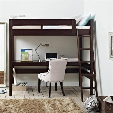 bed frame with desk dorel living georgetown transitional loft bed frame