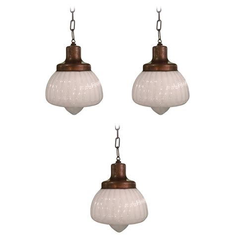 Milk Glass Pendant Light Fixtures Set Of Three Fancy Fluted Milk Glass Library Pharmacy Pendant Lights At 1stdibs
