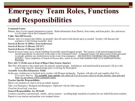 Emergency Preparedness Ppt Video Online Download Team Roles And Responsibilities Ppt