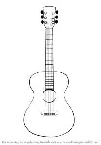 Acoustic Guitar Outline Drawing by Learn How To Draw An Acoustic Guitar Musical Instruments Step By Step Drawing Tutorials