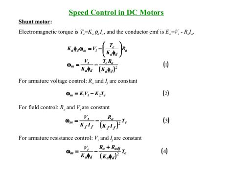 dc motor equations lecture dc machines