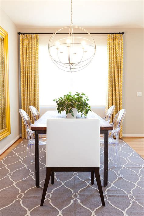 Grey Dining Room Rug Drapes And Rug Add Yellow And Gray To The Neutral Dining