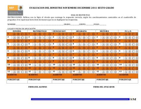 hoja de respuestas resuelta 6 grado 1 bimestre examen bimestral sexto grado bim ii 1