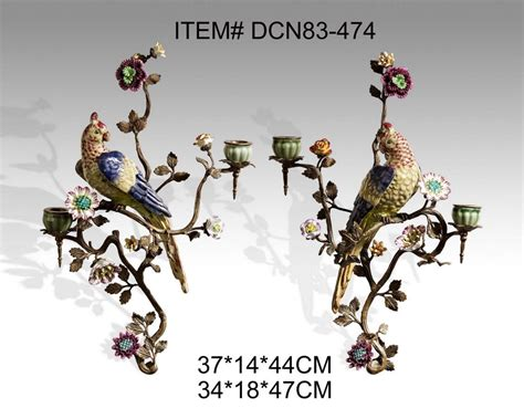 Candle Holder Wall Sconces European Style Brass And Ceramic Bird Decorative Wall