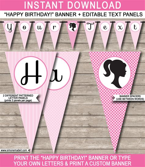 Barbie Party Banner Template Birthday Banner Editable Bunting Diy Birthday Banner Template