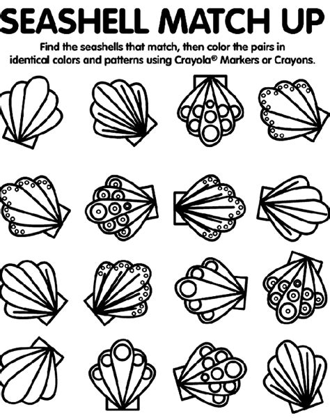 sea shell match up coloring page crayola com