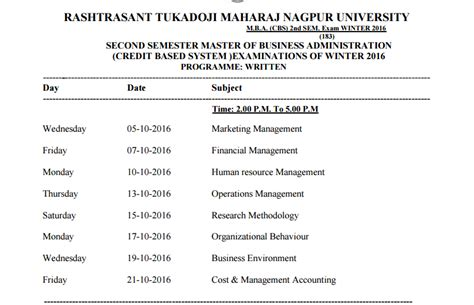 Mba Date In 2017 by Mba Cbs 2nd Sem Time Table Winter 2017