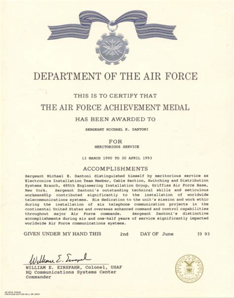 air force certificate of achievement template air force