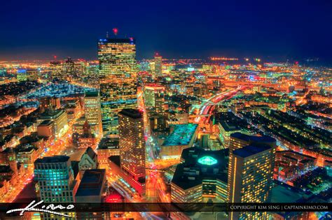 Boston City Night Lights Aerial From Prudential Building Boston Lights