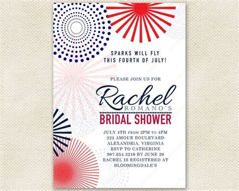 in july wedding shower invitations fourth of july bridal shower invitation with mod fireworks