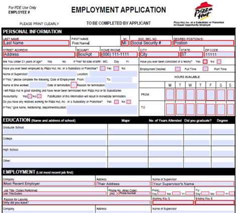 pizza hut application form pizza hut application form printable application