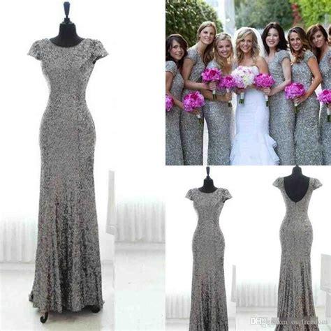 Mermaid Blingbling Size S Dan M bling grey sequins mermaid bridesmaid dresses with sleeves backless bridesmaid gowns plus