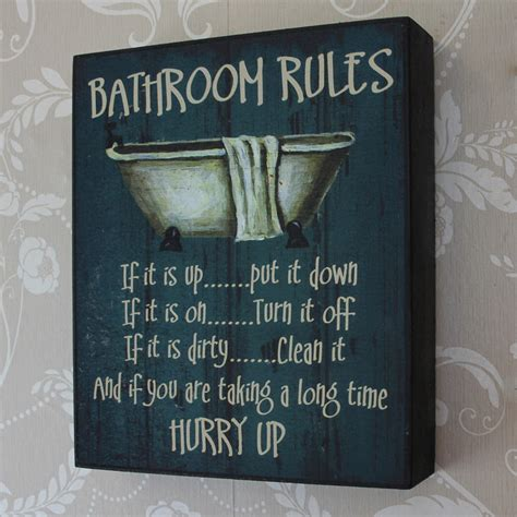 bathroom rules wooden wall plaque melody maison 174