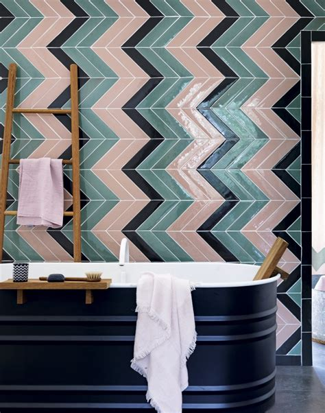 Modern Bathroom With Green Tiles Modern Bathroom With Green And Pink Chevron Tiles The