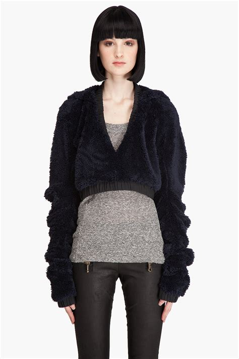 Teddy Sweater les chiffoniers teddy cropped sweater in blue navy lyst
