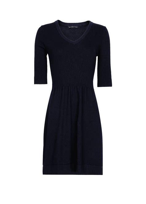 navy blue knitted dress mango knit dress in blue navy lyst