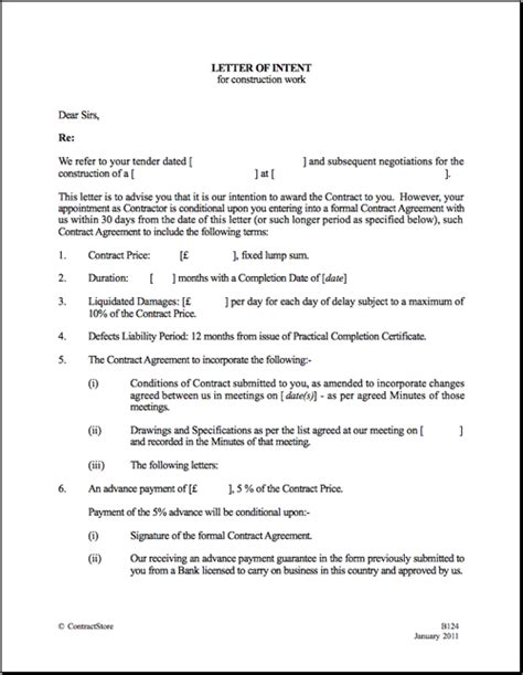 loi template letter of intent template uk letter of recommendation