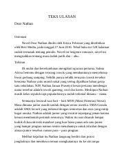 TEKS ULASAN.docx - TEKS ULASAN Dear Nathan Orientasi Novel