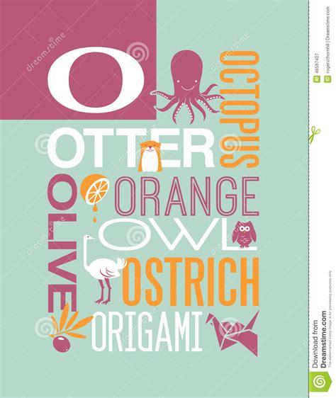 design poster in word letter o words typography illustration alphabet poster