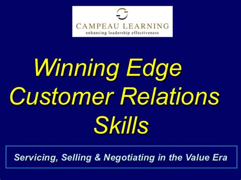 winning edge customer relation skills