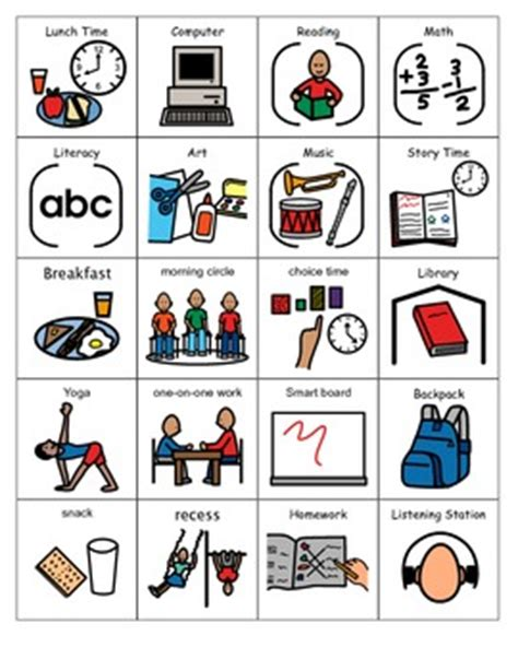 schedule picture symbols for students with autism | social