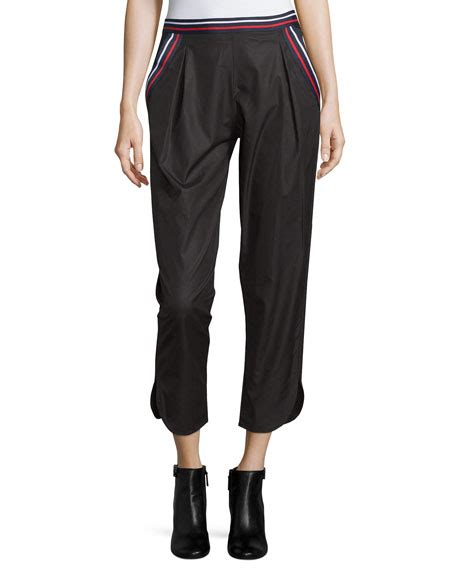 Striped Trim Cropped see by mid rise striped trim cropped black